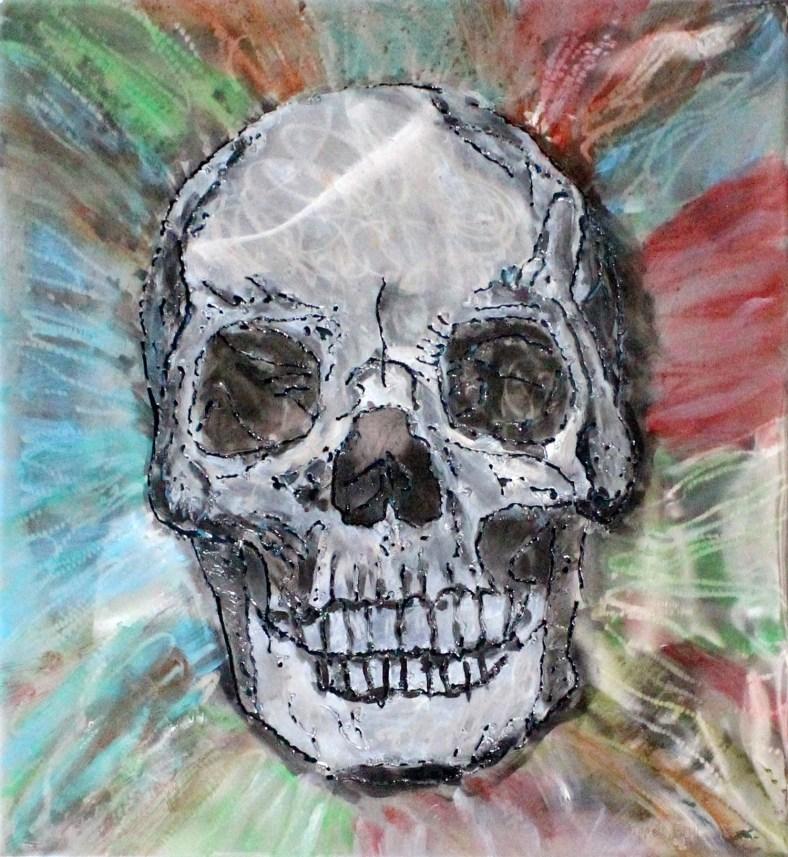Tableau vanité crane Acier encre vernis , skull wall sculpture Steel ink varnish Philippe Buil