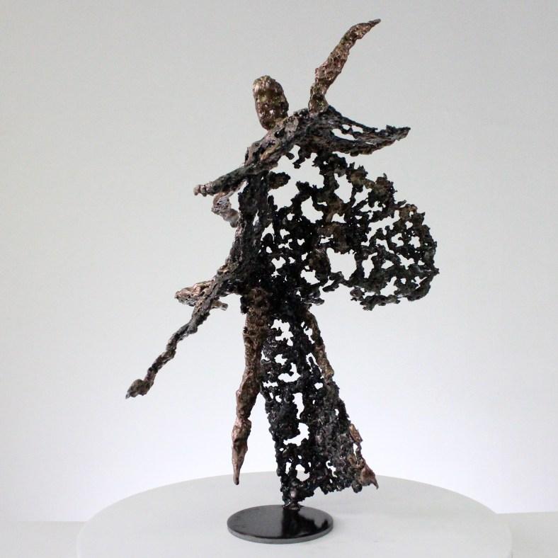Pavarti soir de première - Sculpture corps danseuse femme métal dentelle acier bronze  - Body dancer woman on first time metal artwork - lace steel bronze - Buil