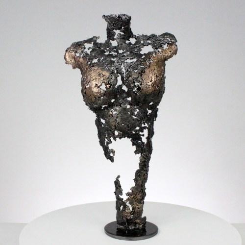 Pavarti Ambivalence - Sculpture corps danseuse femme métal dentelle acier bronze - Body dancer woman on first time metal artwork - lace steel bronze - Buil