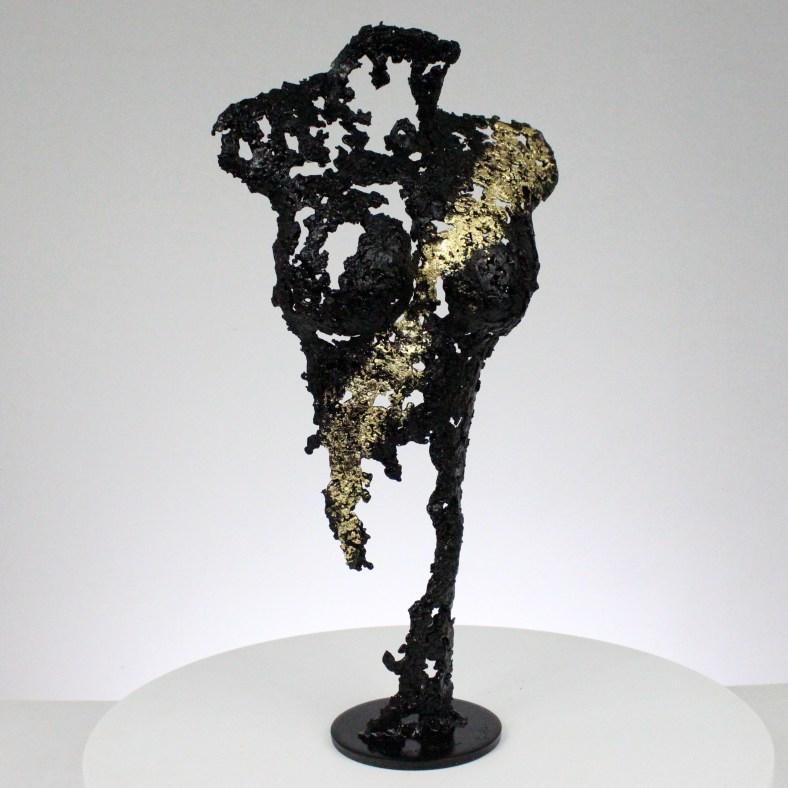 Pavarti une nuit - Sculpture corps danseuse femme métal dentelle acier feuille or - Body woman night metal artwork - lace steel gold leaf - Buil