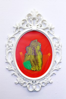 Medium: Poured Latex Enamel Paint, Cellophane, and Color Paper in IKEA UNGDRILL Plastic Frame Size: 23 ¼'' x 33 ½'' x 1 ½'' Year: 2016