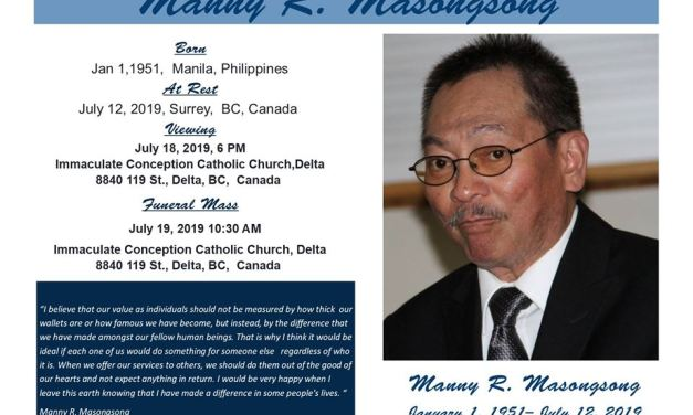 Passages: Manny R. Masongsong to be buried July 19