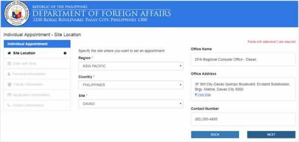 Step 2 - Select a DFA Regional Office
