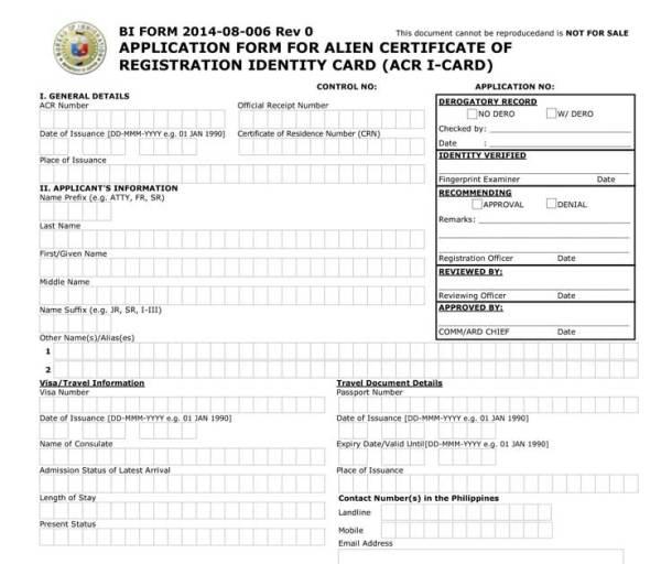 ACR I-Card Application Form