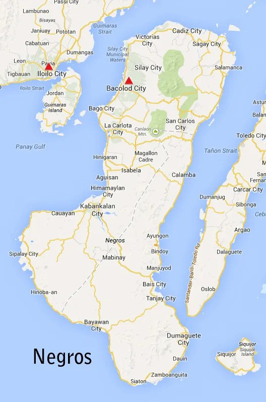 Negros Island, Philippines, showing camps at Bacolod and Iloilo
