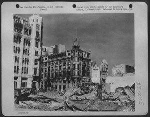 Bomb damage to the Yokohama Bank, Manila 1945