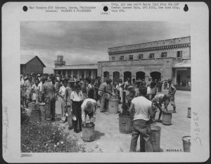 First meal at New Bilibid Prison for Los Banos internees, February 1945