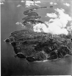 Aerial view of Corregidor on 16 February 1945