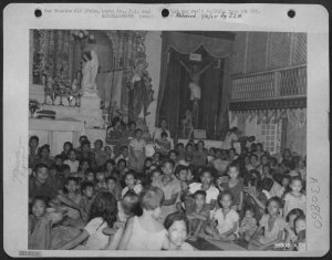 Filipino refugees taking-shelter in Palo Cathedral Leyte, 1944