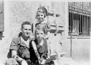 U.S. Captain Price with two internee children, 1945