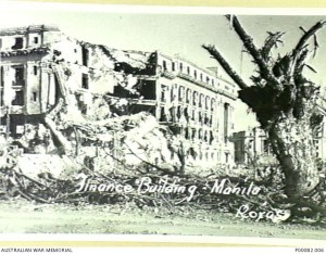 MANILA, THE PHILIPPINES, 1945. FINANCE BUILDING, EXTENSIVELY DAMAGED BY ARTILLERY FIRE. (DONOR: B. COOPER; PHOTOGRAPHER: ROXAS ).