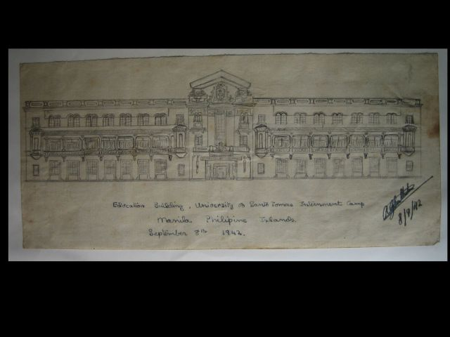 R. G.. Southerton drawing of Santo Tomas Education building, 1942