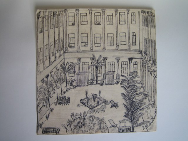 R. G. Southerton drawing of the courtyard of the Santo Tomas main building, 1942