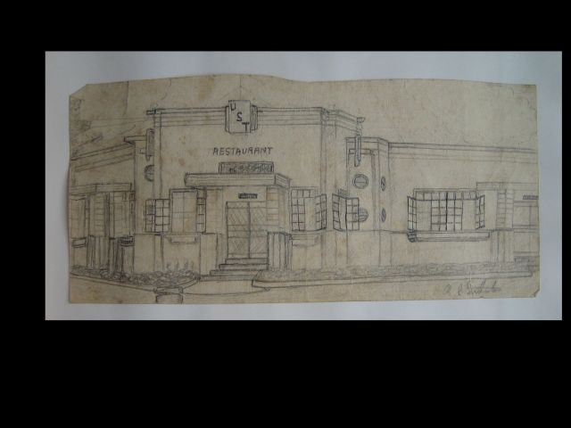 R. G. Southerton drawing of restaurant at Santo Tomas, 1942