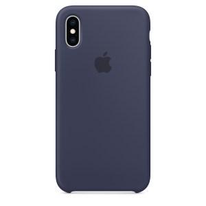 Capa De Silicone Para Iphone Xs Azul Meia‑noite Img 01