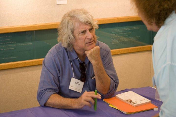 Dufresne fields a question at NPC Authors & Books Festival, April 2009.