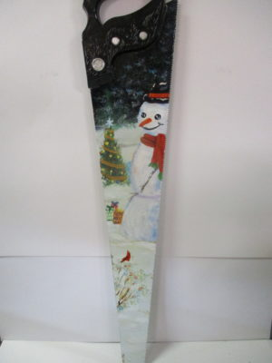 painted winter scene on vintage hand saw