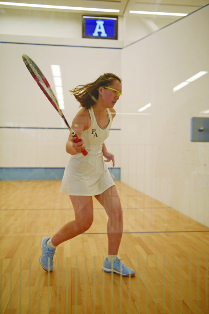 Seventh seed Jennifer Lee '18 sets up a shot during a January match against St. Paul's School.