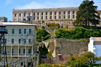 Alcatraz, up close...the inmates were kept in that white building on the left...it could hold up to 300 inmates, but was never full