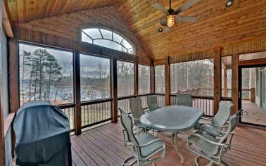 Great screened in porch to enjoy the autumn breeze.