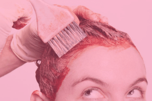 Woman getting hair dyed