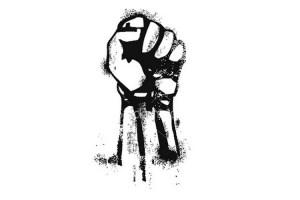 Black and white raised fist