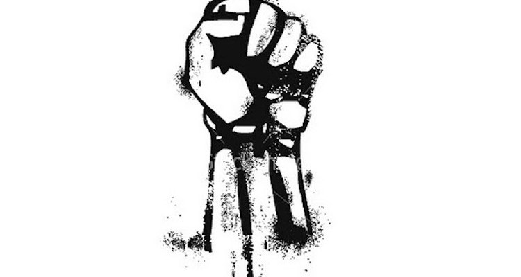 Black and white raised fist