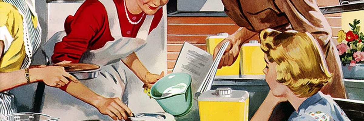 Classic 1950's painting of women baking cake