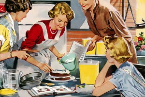 Classic 1950's painting of women baking cake