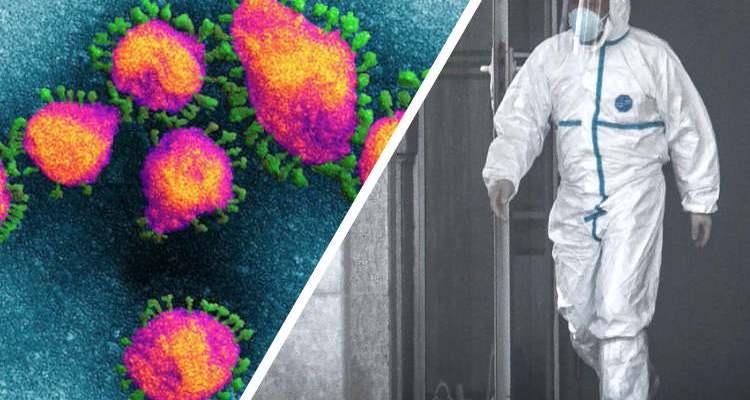 Coronavirus and man in hazmat suit