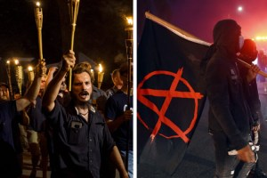 Carlottesville protesters and far left anarchists