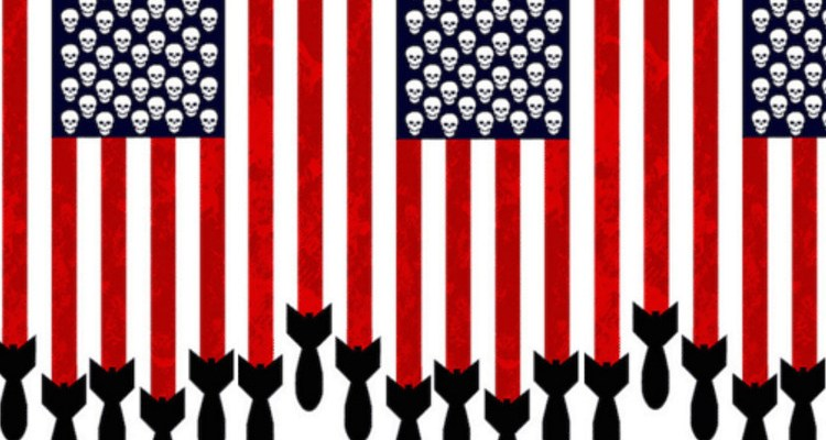 American flag with skulls and bombs