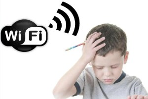 Child with headache and WiFi signal