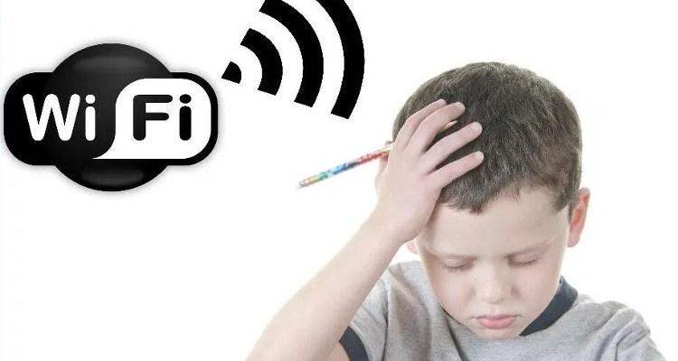 Child with headache and WiFi signal