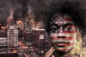 Black man with American flag face and burning city