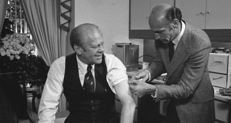 Gerald Ford receiving Swine Flu vaccine