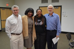 Rose McGee (third from left) with JCA member Dave Snyder, Northside leader Jewelean Jackson, and JCA Executive Director Vic Rosenthal