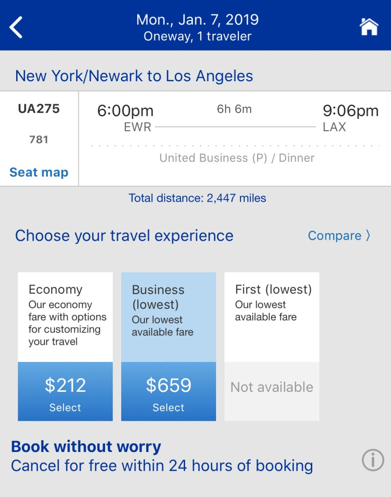 United Airlines 787-10 Pricing
