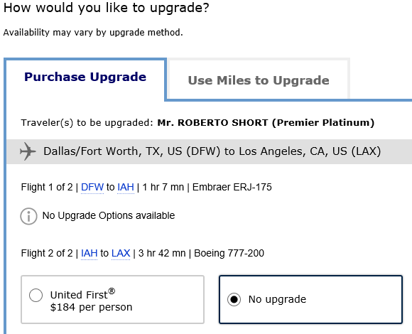 United Airlines Upgrade