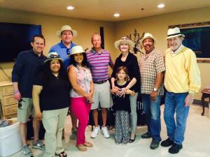 Committee members Chance Pearson, Monica Ybarra, Ray Zschiesche and Judge Patricia Parrish, Honorary member Taylor and guests Ivonne Molina and Travis Weedn with the Elderly Brothers at the Spring Fling party.
