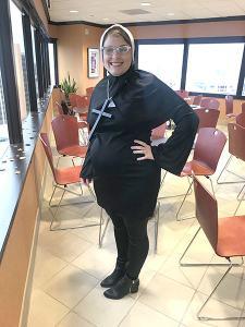 Receptionist Rachel Schones in her First Place costume