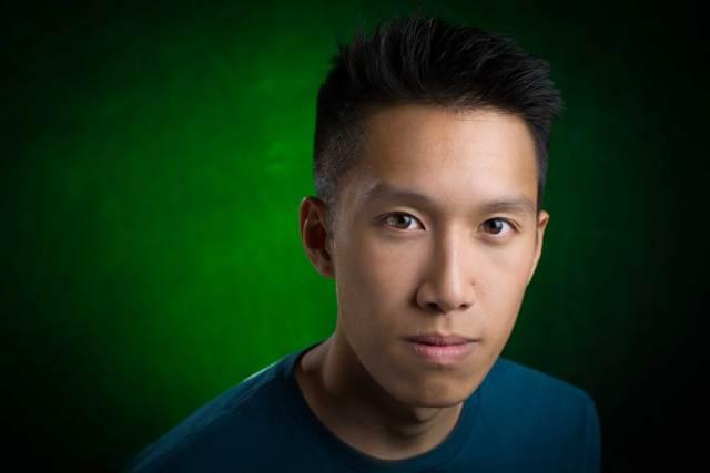 linkedin green gel grey backdrop portrait photo