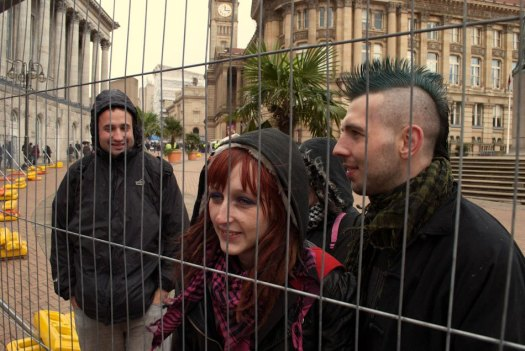 Occupy birmingham protestors fenced off by police