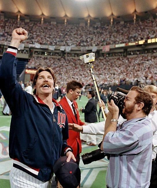 Jack Morris lifting a fist after winning the 1991 World Series.