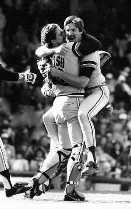 Detroit Tigers pitcher Jack Morris celebrates by jumping unto his catcher Lance Parrish's arms.