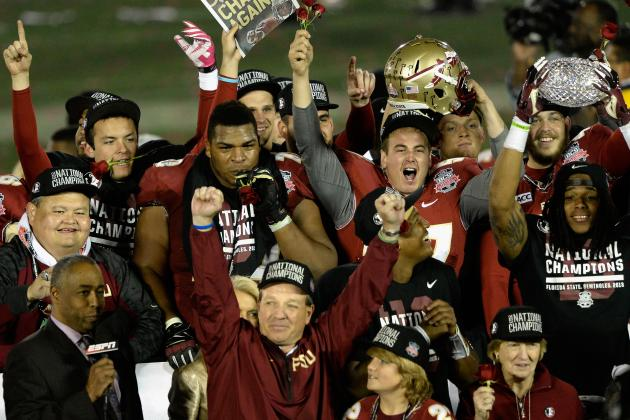Jimbo Fisher and his Noles coaching staff leading the team to a championship in 2013