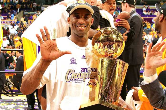 Kobe Bryant with his fifth Larry O'Brien trophy, the next honor for Bryant will be the hall-of-fame