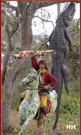 Chief Osceola aboard Renegade of FSU hangs up a Gator