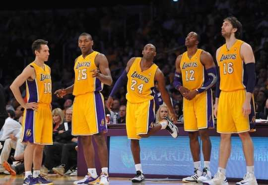 Kobe Bryant and his teammates  the 2013 Lakers starting lineup