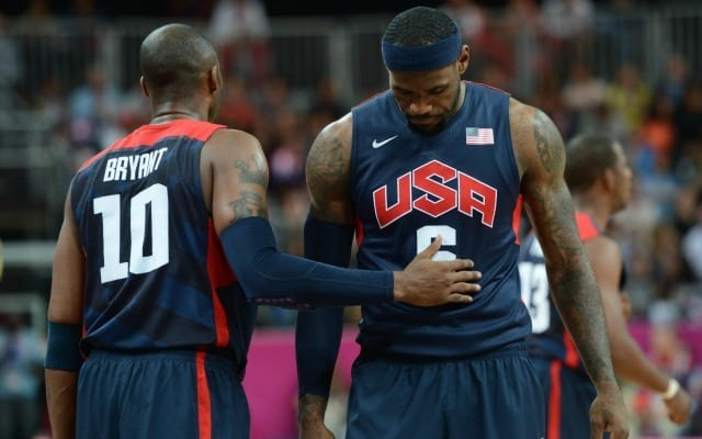 LeBron James and Kobe Bryant talk during a U.S olympic game
